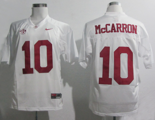 Nike Alabama Crimson Tide AJ McCarron 10 SEC Patch White College Football Jersey