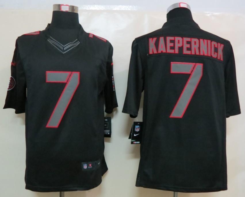 NEW Nike San Francisco 49ers 7 Kaepernick Impact Limited Black Jerseys