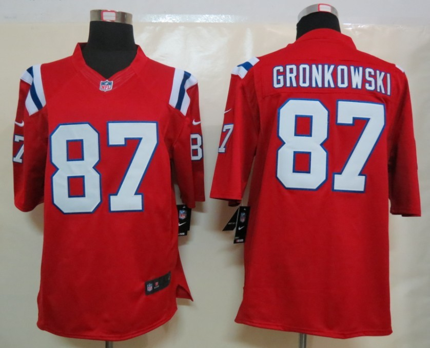 Nike New England Patriots 87 Gronkowski Red Limited Jersey