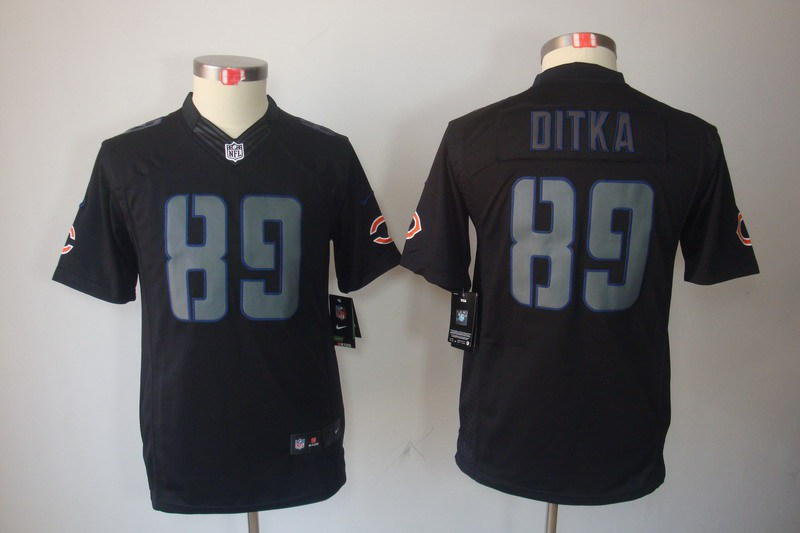 Chicago Bears 89 Ditka YOUTH Nike Impact Limited Black Jerseys
