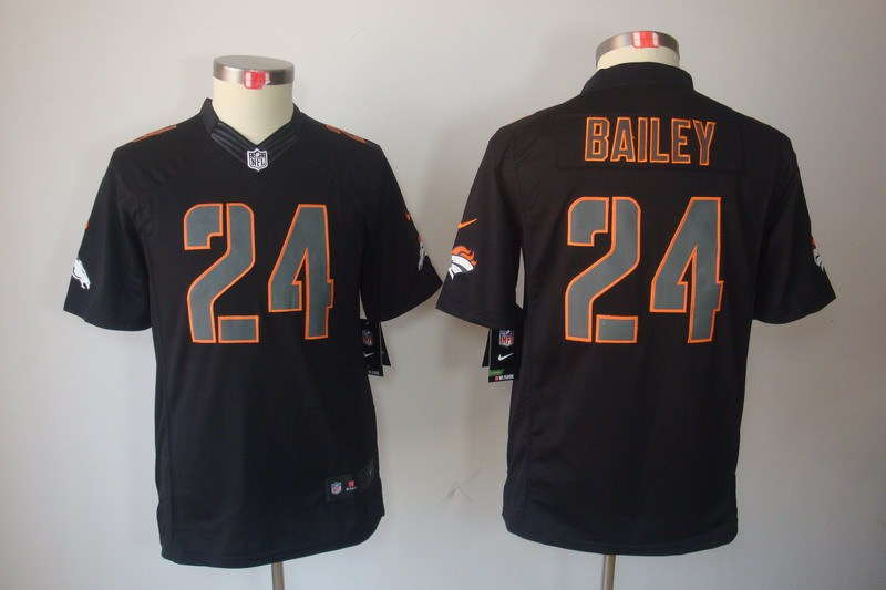 Denver Broncos 24 Champ Bailey YOUTH Nike Impact Limited Black Jerseys