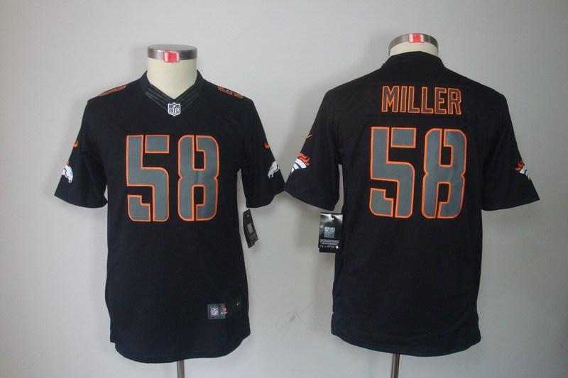 Denver Broncos 58 Miller YOUTH Nike Impact Limited Black Jerseys