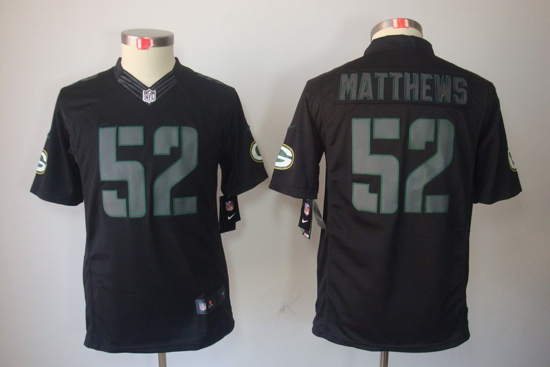 Green Bay Packers 52 Matthews YOUTH Nike Impact Limited Black Jerseys