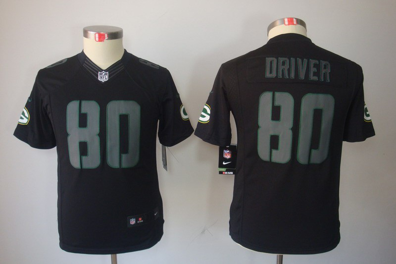 Green Bay Packers 80 Donald Driver YOUTH Nike Impact Limited Black Jerseys