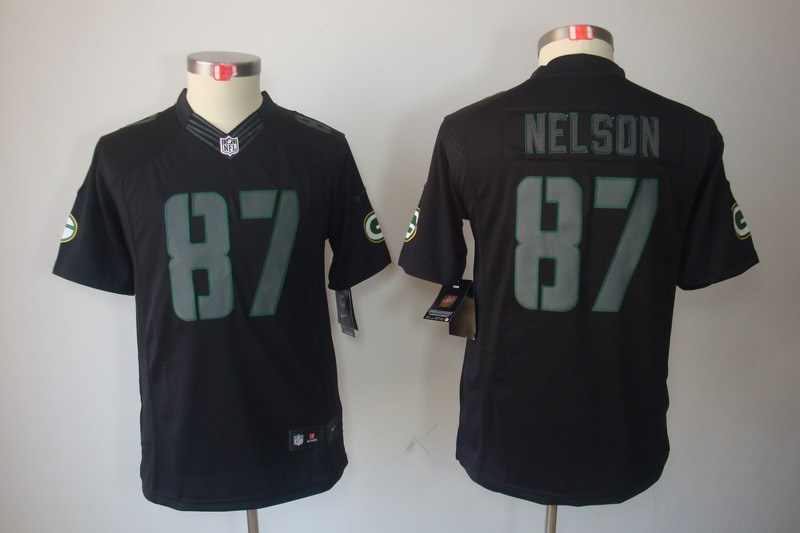 Green Bay Packers 87 Jordy Nelson YOUTH Nike Impact Limited Black Jerseys
