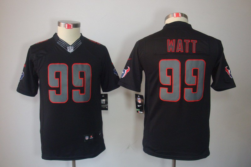 Houston Texans 99 Watt YOUTH Nike Impact Limited Black Jerseys