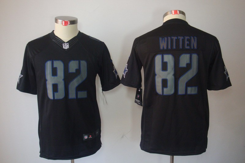 Nike Dallas Cowboys 82 Jason Witten YOUTH Nike Impact Limited Black Jerseys