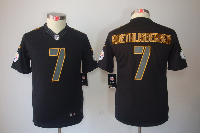 Pittsburgh Steelers 7 Roethlisberger YOUTH Nike Impact Limited Black Jerseys