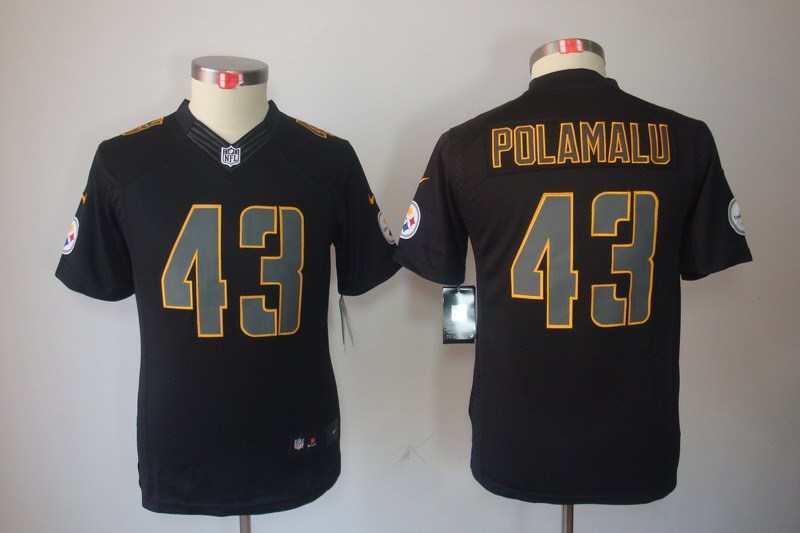 Pittsburgh Steelers 43 Polamalu YOUTH Nike Impact Limited Black Jerseys