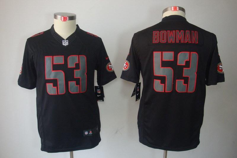 San Francisco 49ers 53 Bowman YOUTH Nike Impact Limited Black Jerseys