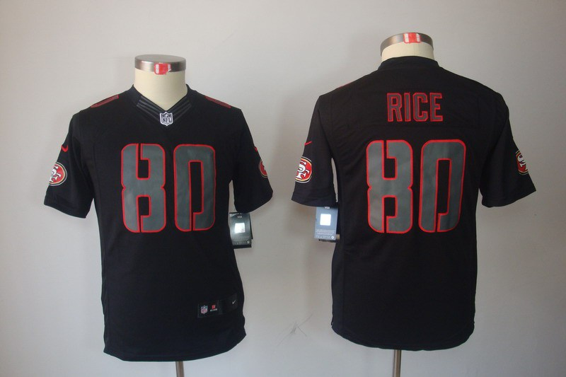 San Francisco 49ers 80 Jerry Rice YOUTH Nike Impact Limited Black Jerseys