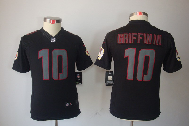 Washington Redskins 10 Robert Griffin III YOUTH Nike Impact Limited Black Jerseys
