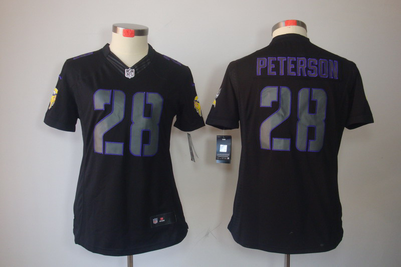 Minnesota Vikings 28 Peterson Women's Nike Impact Limited Black Jerseys