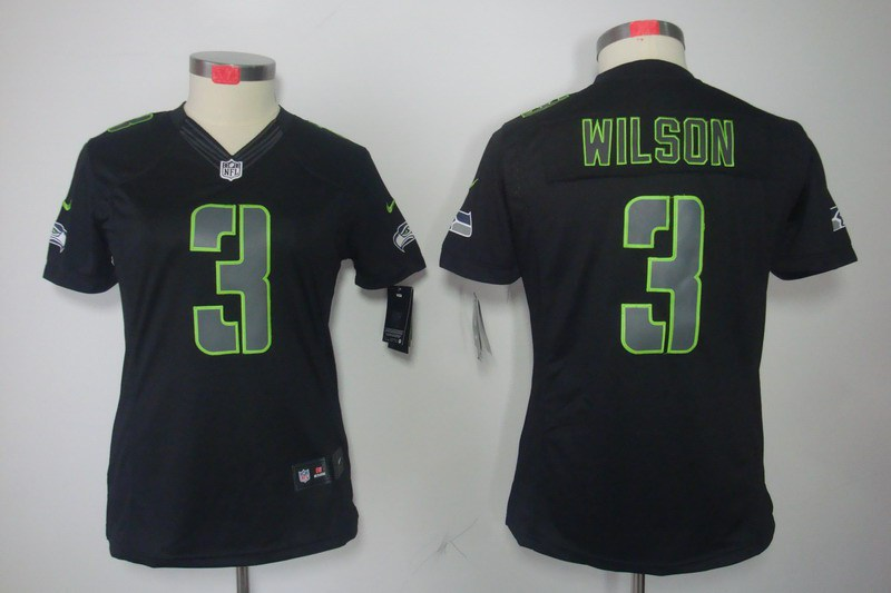 Seattle Seahawks 3 Wilson Women's Nike Impact Limited Black Jerseys