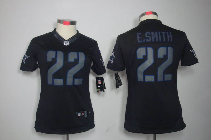 Dallas Cowboys 22 E.SMITH Women's Nike Impact Limited Black Jerseys