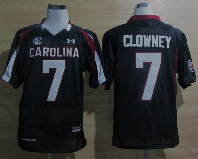 Under Armour South Carolina Javedeon Clowney 7 New SEC Patch NCAA Football - Black