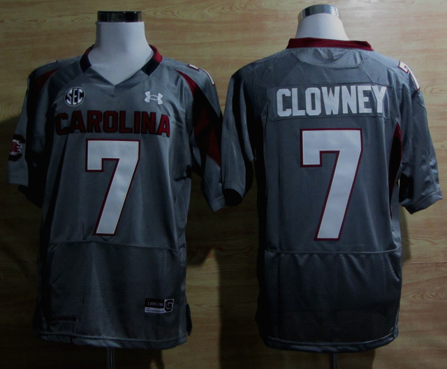 Under Armour South Carolina Javedeon Clowney 7 New SEC Patch NCAA Football - Grey