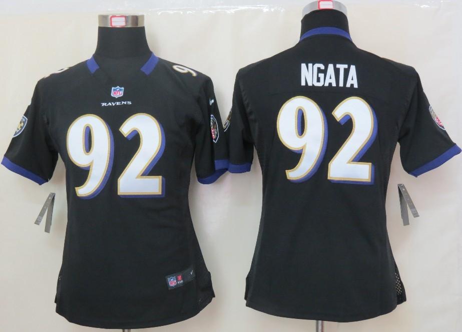 Womens Nike Baltimore Ravens 92 Ngata Black Elite Jersey