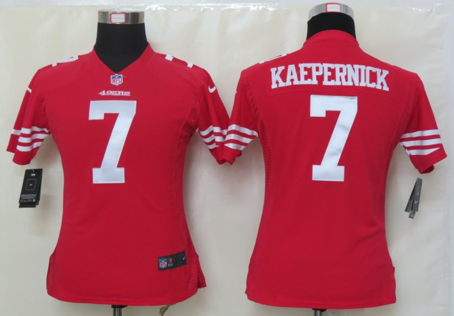 Womens Nike San Francisco 49ers 7 Kaepernick Red Elite Jerseys