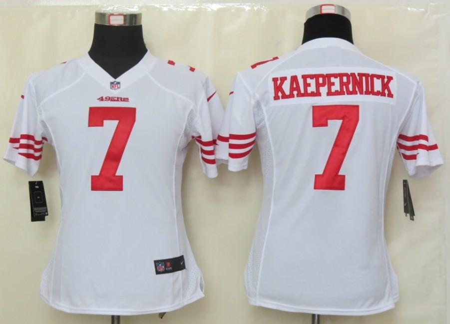 Womens Nike San Francisco 49ers 7 Kaepernick White Elite Jerseys
