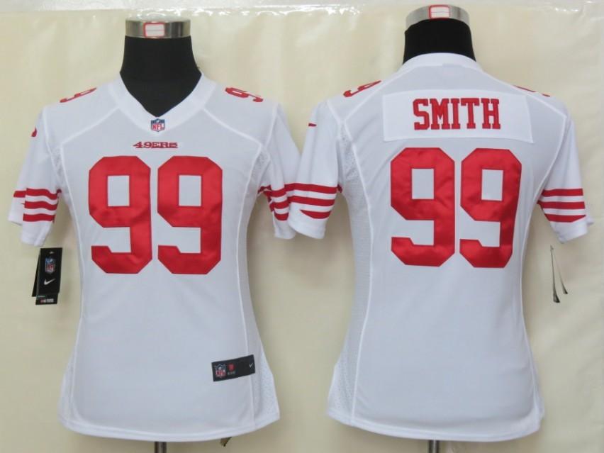 Womens Nike San Francisco 49ers 99 Smith White Elite Jerseys
