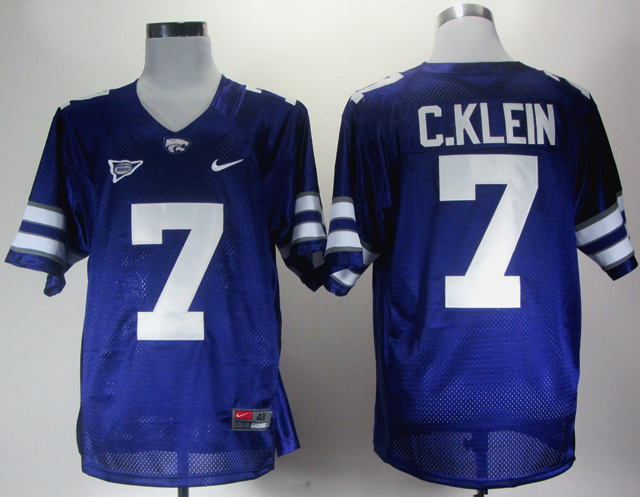 NCAA Kansas State Wildcats 7 C.Klein blue Jerseys