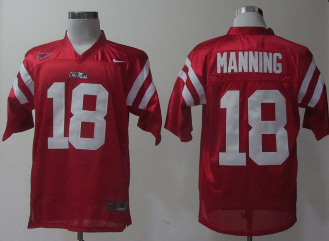 NCAA Ole Miss Rebels 18 Manning red Jerseys