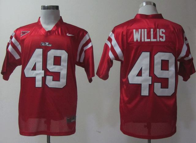 NCAA Ole Miss Rebels 49 Willis red Jerseys