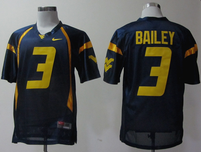 NCAA West Virginia Mountaineers 3 Bailey dark blue Jerseys