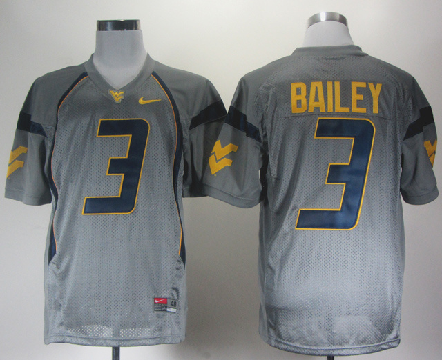 NCAA West Virginia Mountaineers 3 Bailey grey Jerseys