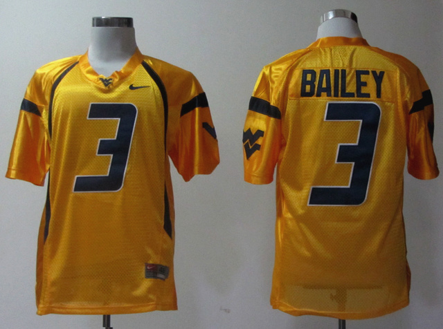 NCAA West Virginia Mountaineers 3 Bailey Orange Jerseys