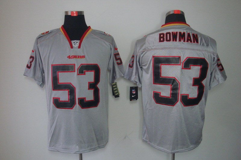 San Francisco 49ers 53 Bowman Nike Lights Out Grey Elite Jerseys