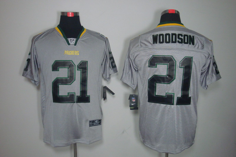 Green Bay Packers 21 Woodson Nike Lights Out Grey Elite Jerseys