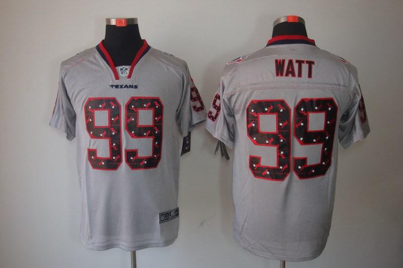 Houston Texans 99 Watt Nike Lights Out Grey Elite Jerseys