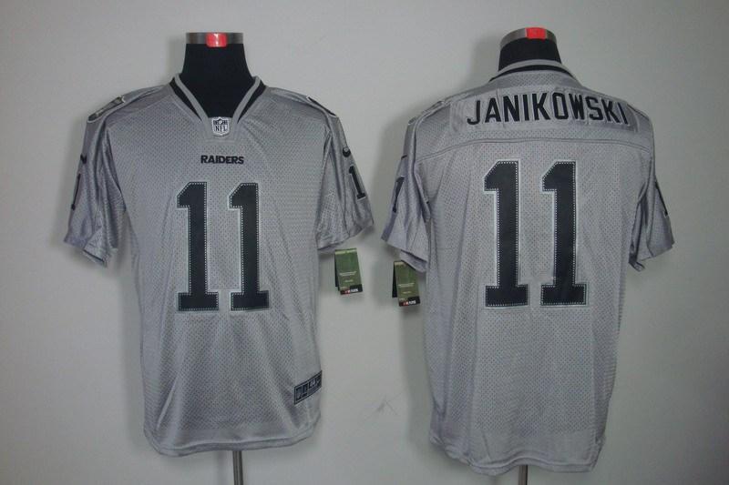 Oakland Raiders 11 Janikowski Black Nike Lights Out Grey Elite Jerseys