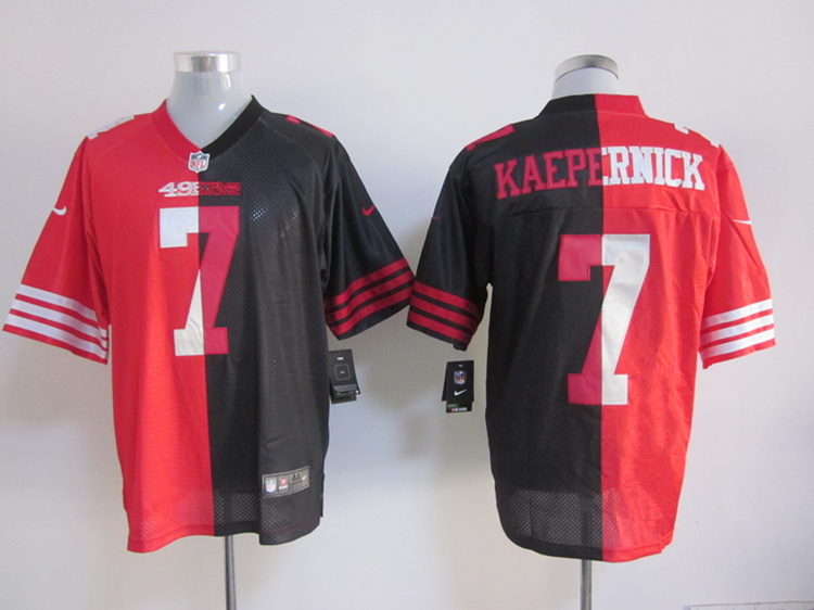 San Francisco 49ers 7 Colin Kaepernick red and black Nike Split Elite jerseys