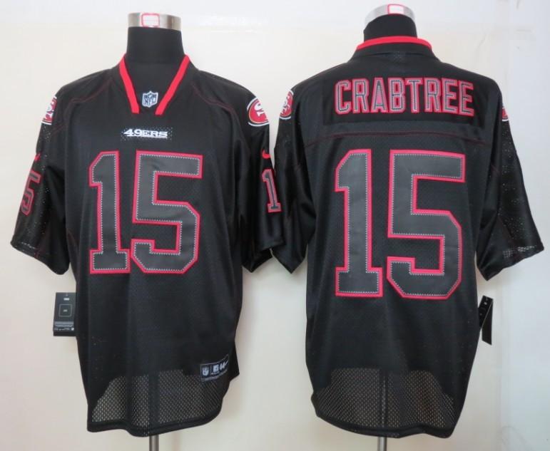 San Francisco 49ers 15 Crabtree Nike Lights Out Black Elite Jersey