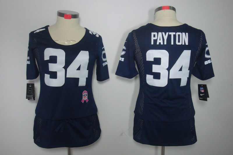 Womens Chicago Bears 34 Payton Nike Elite breast Cancer Awareness blue Jersey