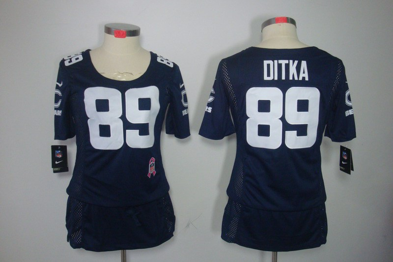 Womens Chicago Bears 89 Ditka Nike Elite breast Cancer Awareness blue Jersey