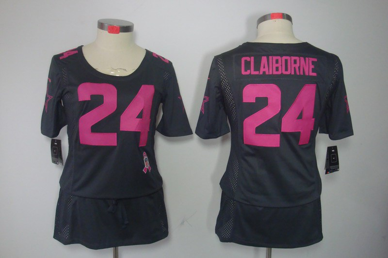 Womens Dallas cowboys 24 Claiborne Nike Elite breast Cancer Awareness grey Jersey