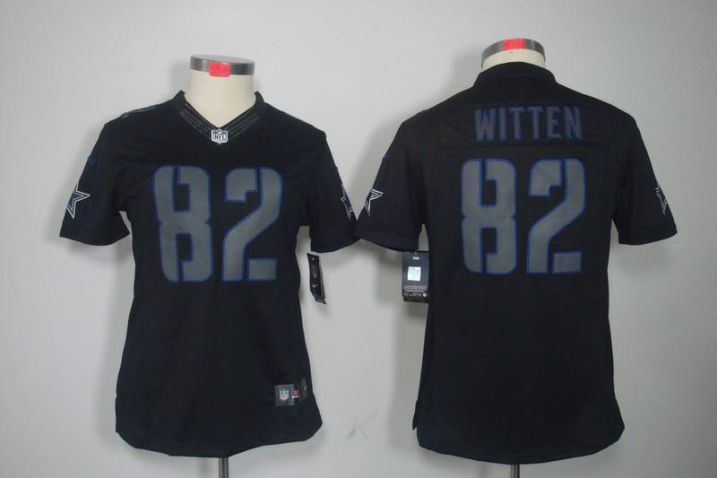 Womens Dallas cowboys 82 Witten Nike Impact Limited Black Jersey