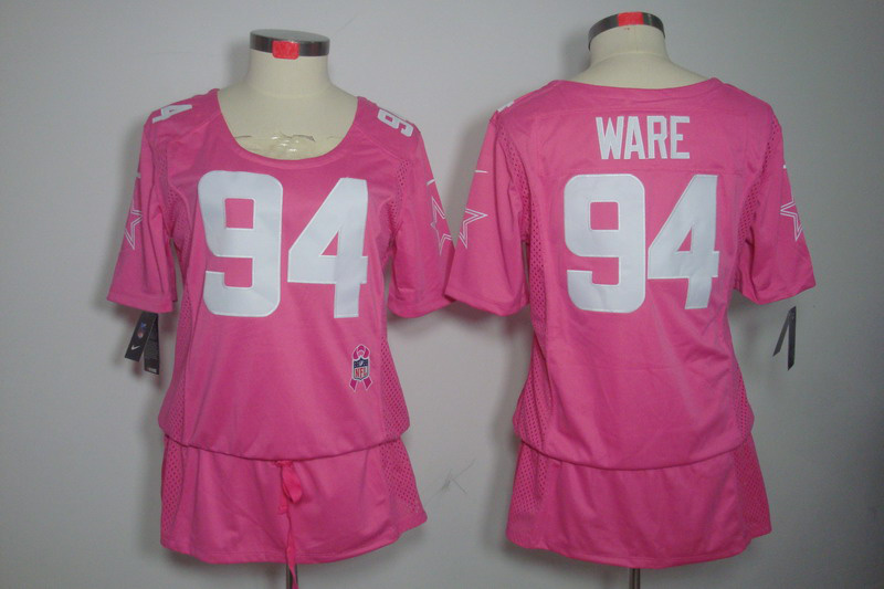 Womens Dallas cowboys 94 Ware Nike Elite breast Cancer Awareness pink Jersey