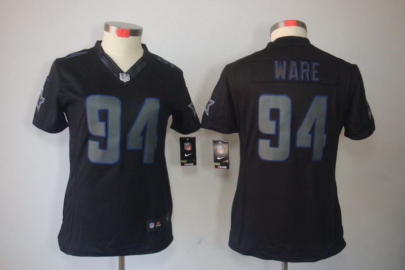 Womens Dallas cowboys 94 Ware Nike Impact Limited Black Jersey