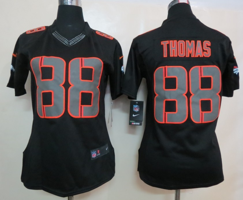 Womens Denver Broncos 88 Thomas Nike Impact Limited Black Jerseys