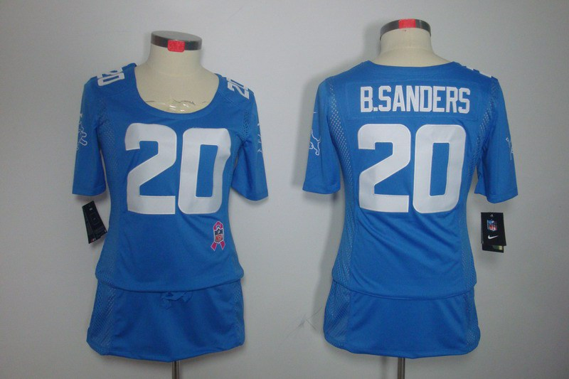 Womens Detroit Lions 20 B.Sanders Nike Elite breast Cancer Awareness blue Jersey