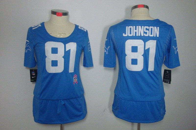 Womens Detroit Lions 81 Johnson Nike Elite breast Cancer Awareness blue Jersey