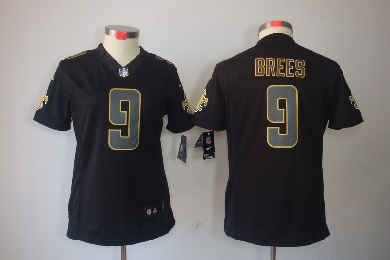 Womens New Orleans Saints 9 Brees Nike Impact Limited Black Jersey