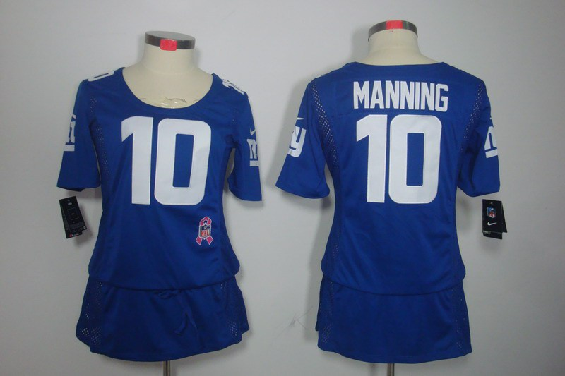 Womens New York Giants 10 Manning Nike Elite breast Cancer Awareness blue Jersey