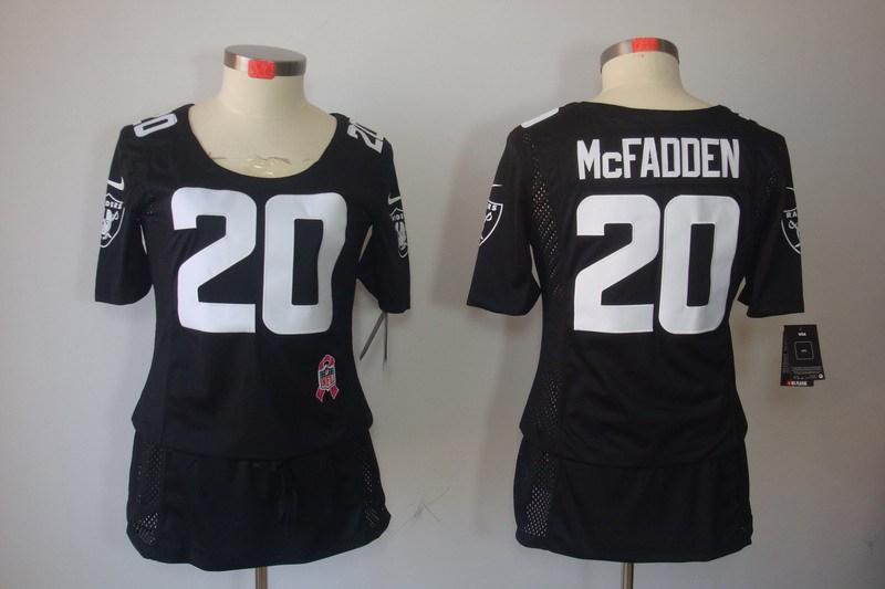 Womens Oakland Raiders 20 Mcfadden Nike Elite breast Cancer Awareness black Jersey