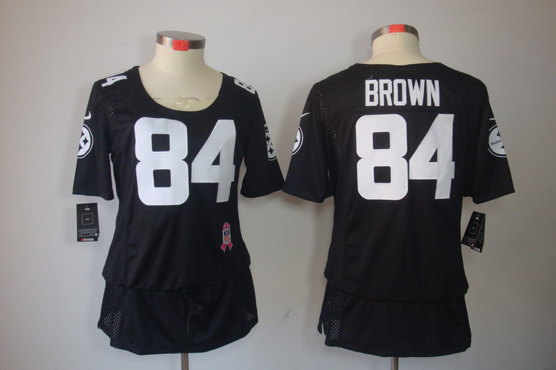 Womens Pittsburgh Steelers 84 Brown Nike Elite breast Cancer Awareness black Jersey